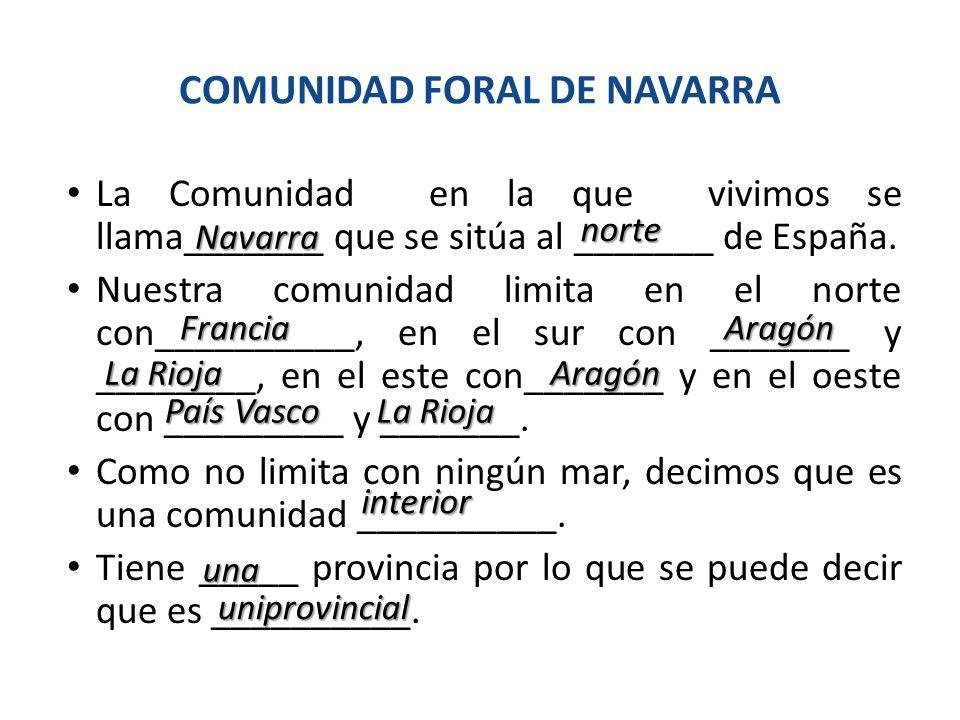 COMUNIDAD FORAL DE NAVARRA La Comunidad en la que vivimos se llama_______ que se sitúa al _______ de España. Nuestra comunidad limita en el norte con_