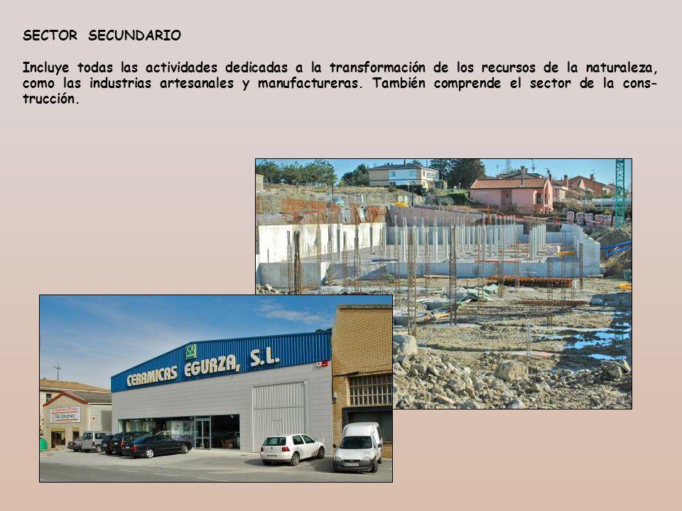 SECTOR SECUNDARIO Incluye todas las actividades dedicadas a la transformación de los recursos de la naturaleza, como las industrias artesanales y manu