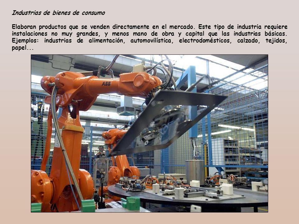 Industrias de bienes de consumo Elaboran productos que se venden directamente en el mercado. Este tipo de industria requiere instalaciones no muy gran