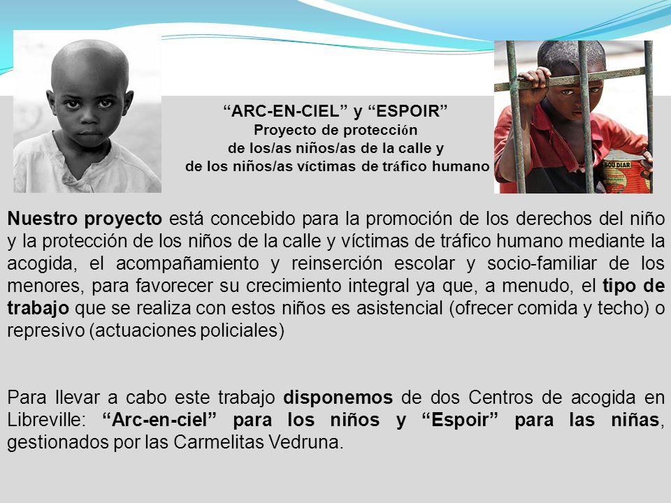 ARC-EN-CIEL y ESPOIR Proyecto de protecci ó n de los/as niños/as de la calle y de los niños/as v í ctimas de tr á fico humano Nuestro proyecto está co