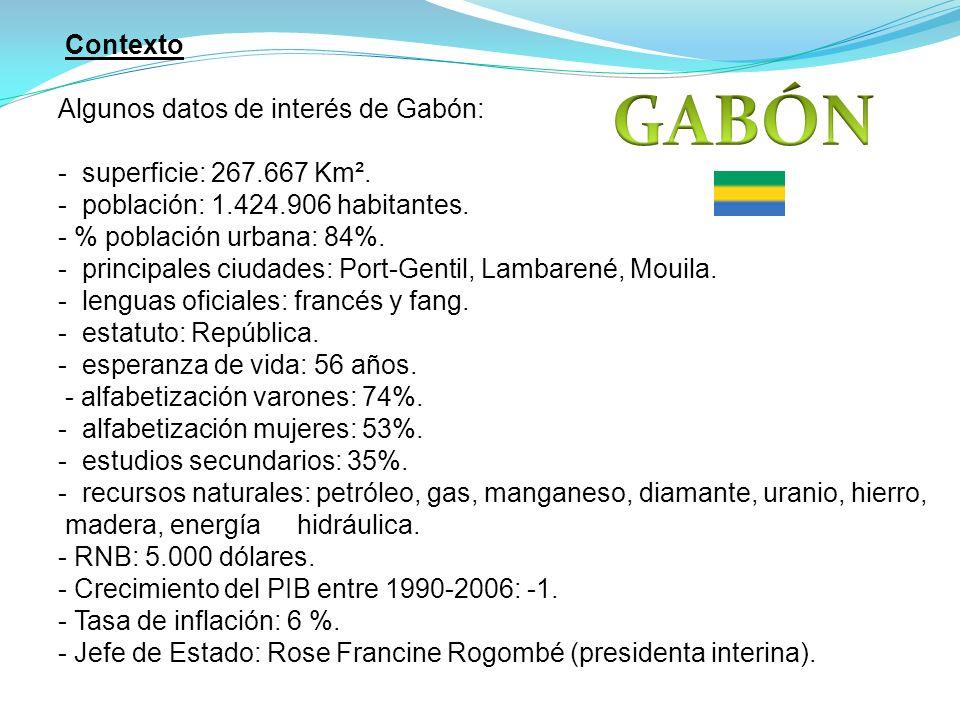 Contexto Algunos datos de interés de Gabón: - superficie: 267.667 Km². - población: 1.424.906 habitantes. - % población urbana: 84%. - principales ciu