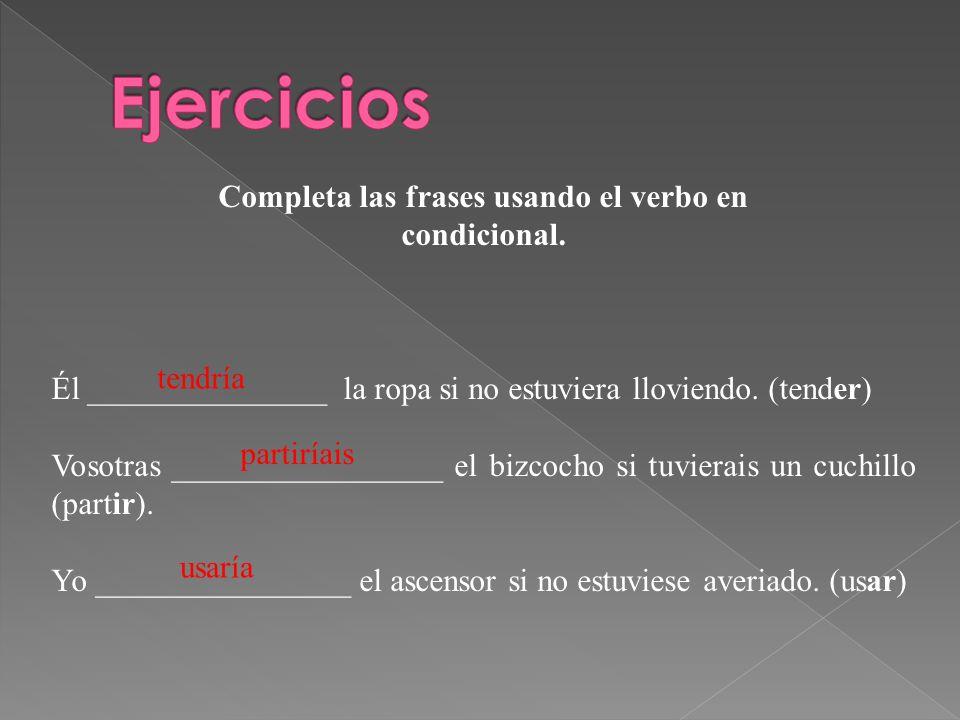 Completa las frases usando el verbo en condicional. Él _______________ la ropa si no estuviera lloviendo. (tender) Vosotras _________________ el bizco