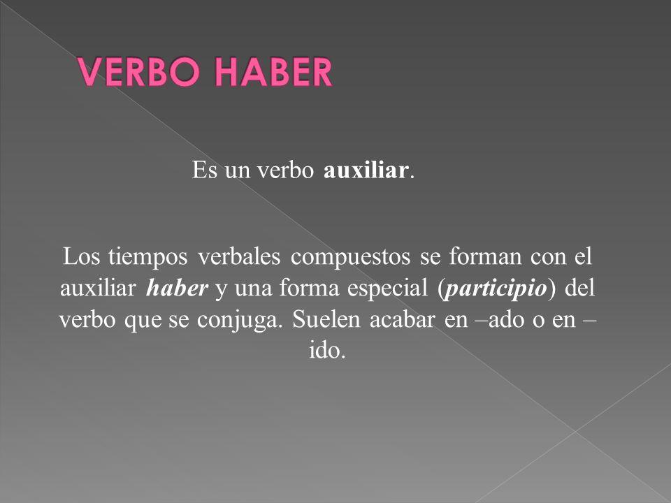 Es un verbo auxiliar. Los tiempos verbales compuestos se forman con el auxiliar haber y una forma especial (participio) del verbo que se conjuga. Suel