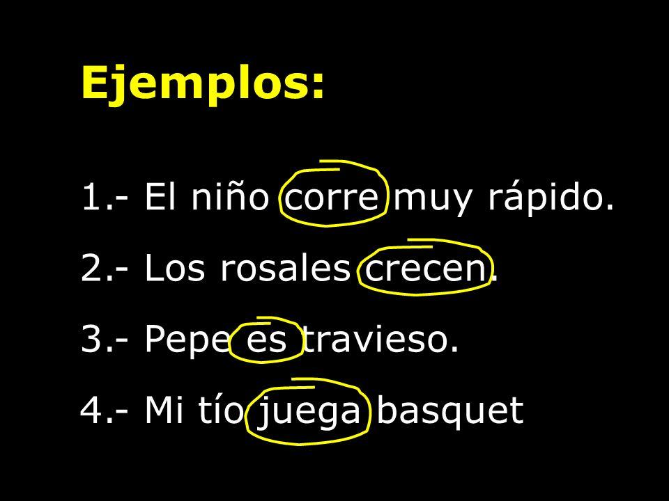3.- Pepe es travieso. 1.- El niño corre muy rápido. Ejemplos: 2.- Los rosales crecen. 4.- Mi tío juega basquet