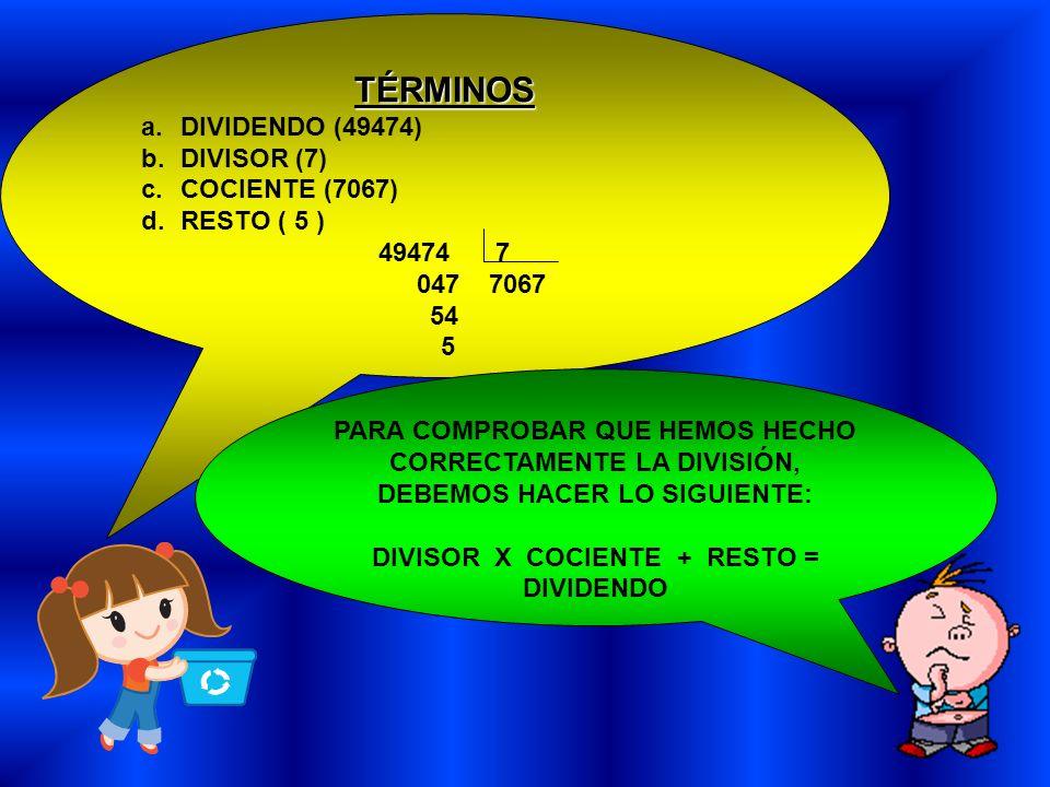TÉRMINOS a.DIVIDENDO (49474) b.DIVISOR (7) c.COCIENTE (7067) d.RESTO ( 5 ) 49474 7 047 7067 54 5 PARA COMPROBAR QUE HEMOS HECHO CORRECTAMENTE LA DIVIS