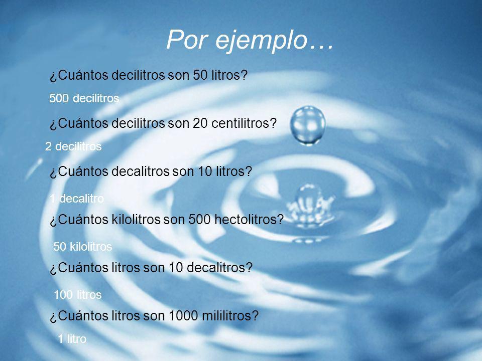 Por ejemplo… ¿Cuántos decilitros son 50 litros? ¿Cuántos decilitros son 20 centilitros? ¿Cuántos decalitros son 10 litros? ¿Cuántos kilolitros son 500
