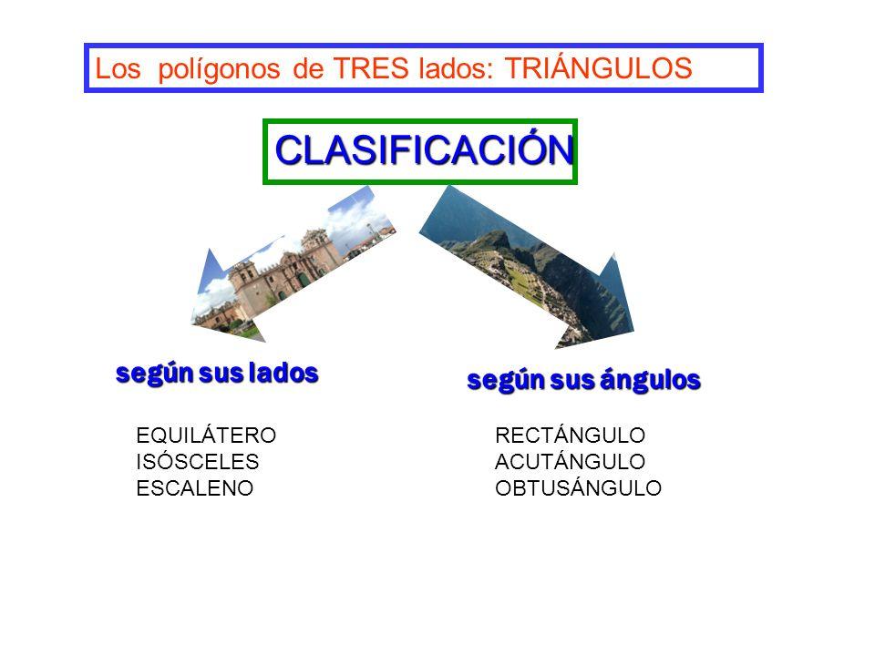 según sus lados según sus ángulos Los polígonos de TRES lados: TRIÁNGULOS CLASIFICACIÓN EQUILÁTERO ISÓSCELES ESCALENO RECTÁNGULO ACUTÁNGULO OBTUSÁNGUL
