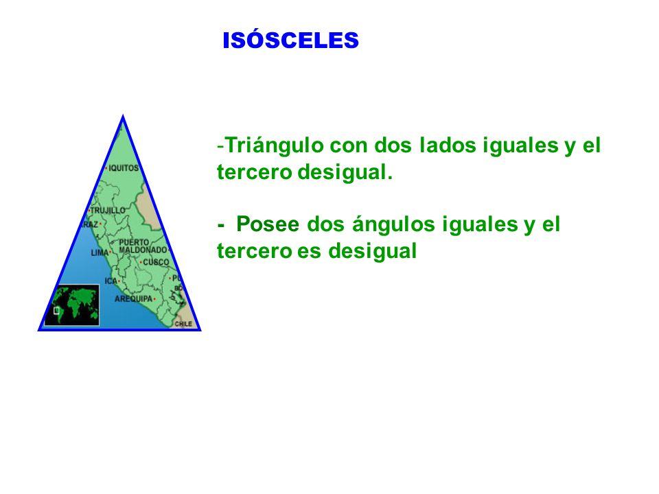 -Triángulo con dos lados iguales y el tercero desigual. - Posee dos ángulos iguales y el tercero es desigual ISÓSCELES