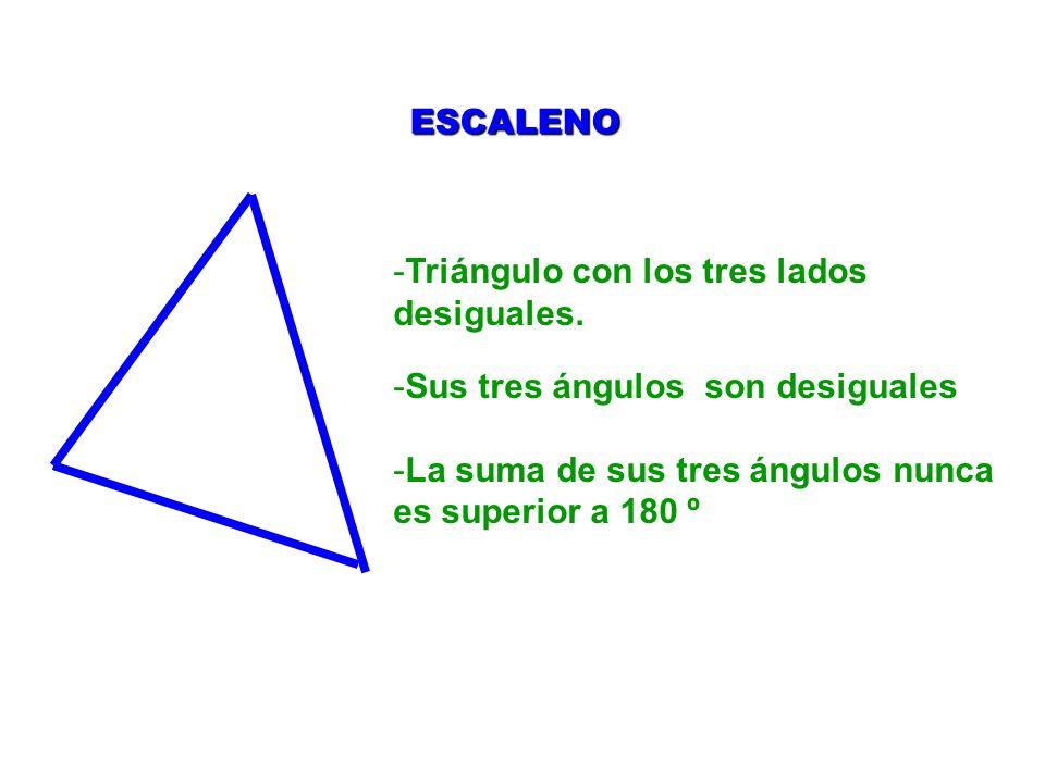 -Triángulo con los tres lados desiguales. -Sus tres ángulos son desiguales -La suma de sus tres ángulos nunca es superior a 180 º ESCALENO