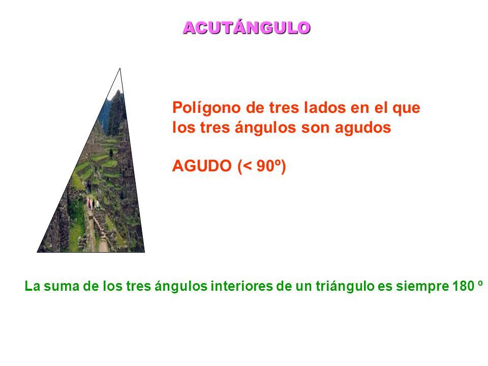Polígono de tres lados en el que los tres ángulos son agudos AGUDO (< 90º) ACUTÁNGULO La suma de los tres ángulos interiores de un triángulo es siempr