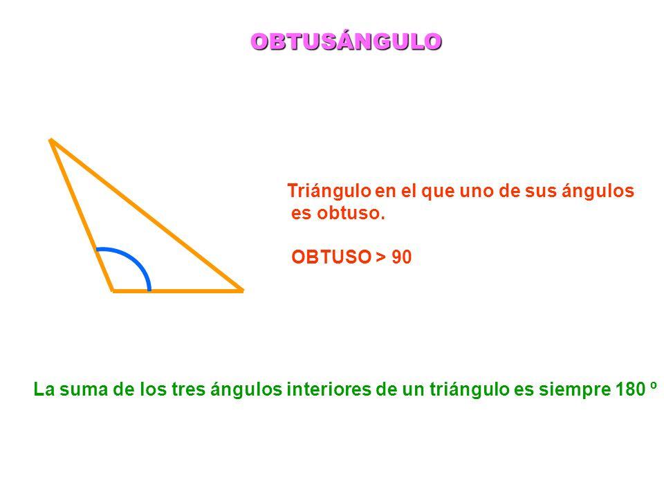 OBTUSÁNGULO Triángulo en el que uno de sus ángulos es obtuso. OBTUSO > 90