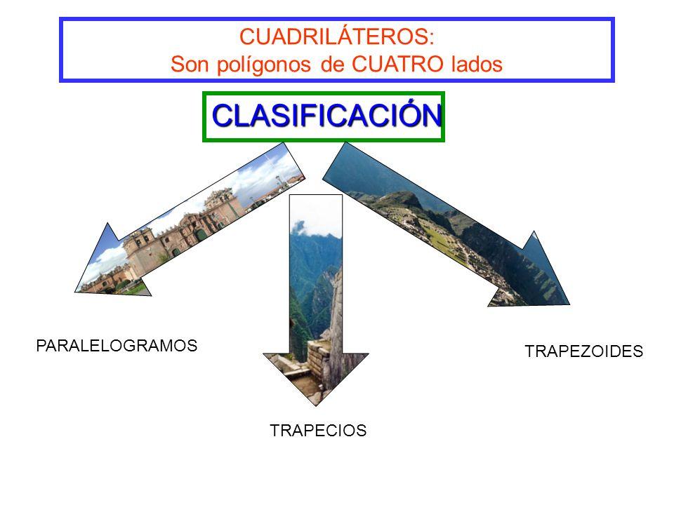 CUADRILÁTEROS: Son polígonos de CUATRO lados CLASIFICACIÓN PARALELOGRAMOS TRAPECIOS TRAPEZOIDES