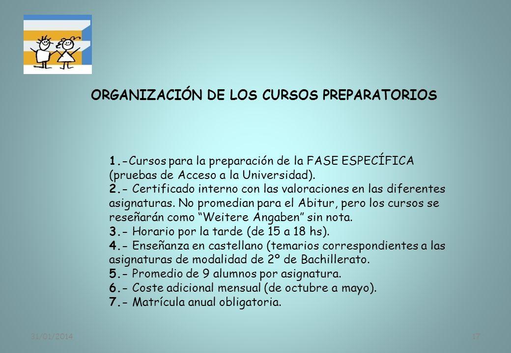 31/01/201417 ORGANIZACIÓN DE LOS CURSOS PREPARATORIOS 1.-Cursos para la preparación de la FASE ESPECÍFICA (pruebas de Acceso a la Universidad). 2.- Ce
