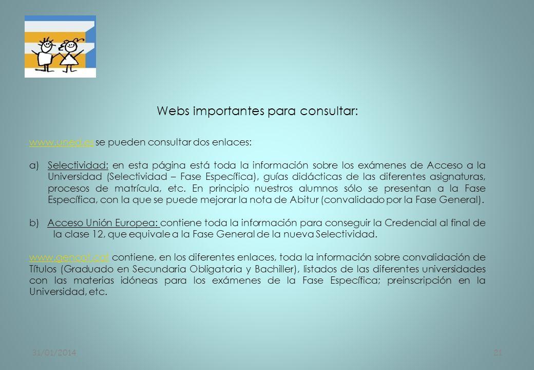 31/01/201421 Webs importantes para consultar: www.uned.eswww.uned.es se pueden consultar dos enlaces: a)Selectividad: en esta página está toda la info