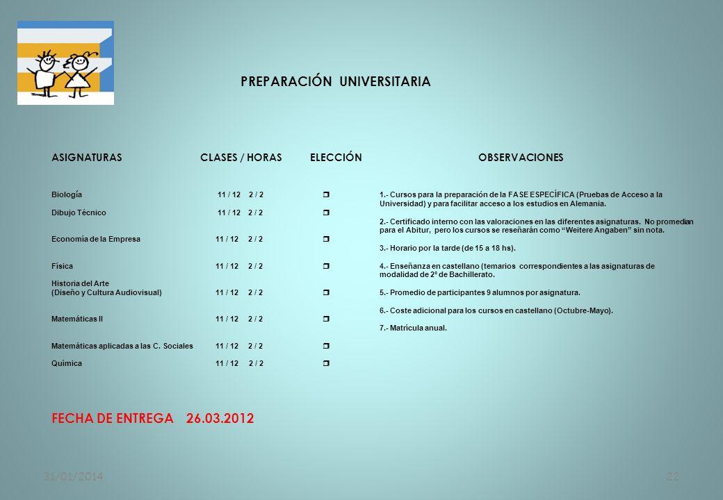 31/01/201422 PREPARACIÓN UNIVERSITARIA ASIGNATURAS CLASES / HORAS ELECCIÓNOBSERVACIONES Biolog í a 11 / 12 2 / 2 1.- Cursos para la preparación de la