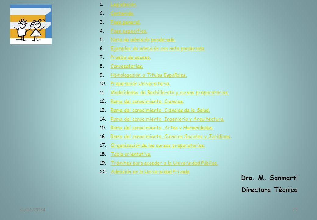 31/01/201423 Dra. M. Sanmartí Directora Técnica 1.Legislación.Legislación. 2.Contenido.Contenido. 3.Fase general.Fase general. 4.Fase específica.Fase