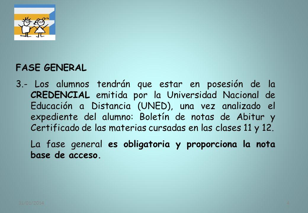 31/01/20144 FASE GENERAL 3.- Los alumnos tendrán que estar en posesión de la CREDENCIAL emitida por la Universidad Nacional de Educación a Distancia (