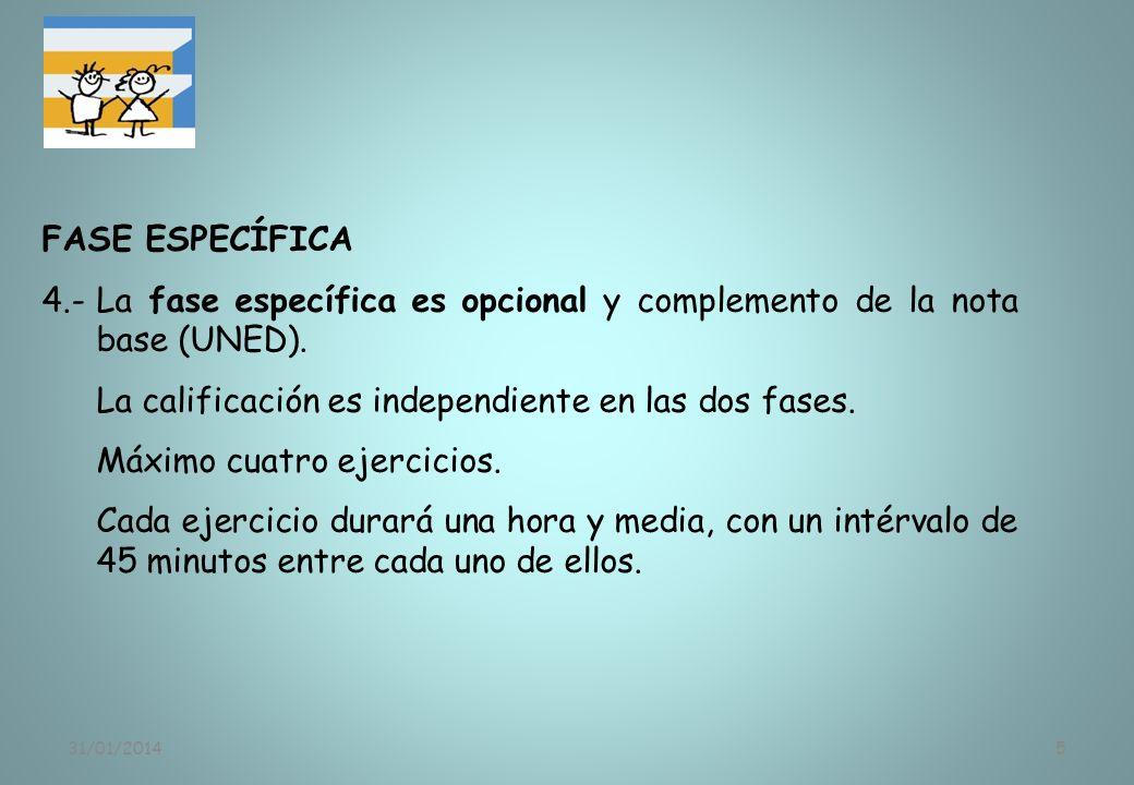 31/01/20145 FASE ESPECÍFICA 4.-La fase específica es opcional y complemento de la nota base (UNED). La calificación es independiente en las dos fases.