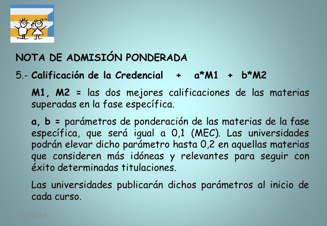 31/01/20146 NOTA DE ADMISIÓN PONDERADA 5.-Calificación de la Credencial + a*M1 + b*M2 M1, M2 = las dos mejores calificaciones de las materias superada