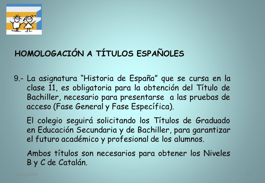 31/01/20149 9.- La asignatura Historia de España que se cursa en la clase 11, es obligatoria para la obtención del Título de Bachiller, necesario para
