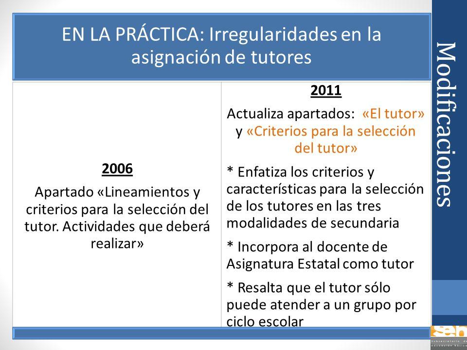 Modificaciones EN LA PRÁCTICA: Irregularidades en la asignación de tutores 2006 Apartado «Lineamientos y criterios para la selección del tutor. Activi