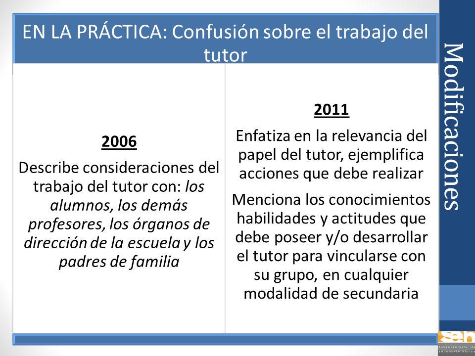 Modificaciones EN LA PRÁCTICA: Confusión sobre el trabajo del tutor 2006 Describe consideraciones del trabajo del tutor con: los alumnos, los demás pr