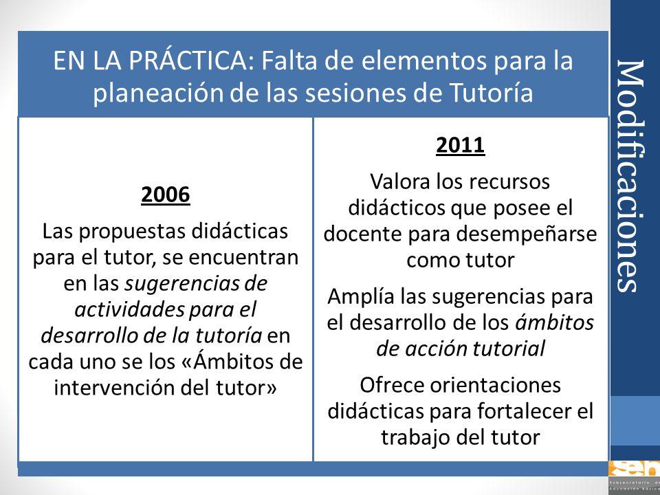 Modificaciones EN LA PRÁCTICA: Falta de elementos para la planeación de las sesiones de Tutoría 2006 Las propuestas didácticas para el tutor, se encue