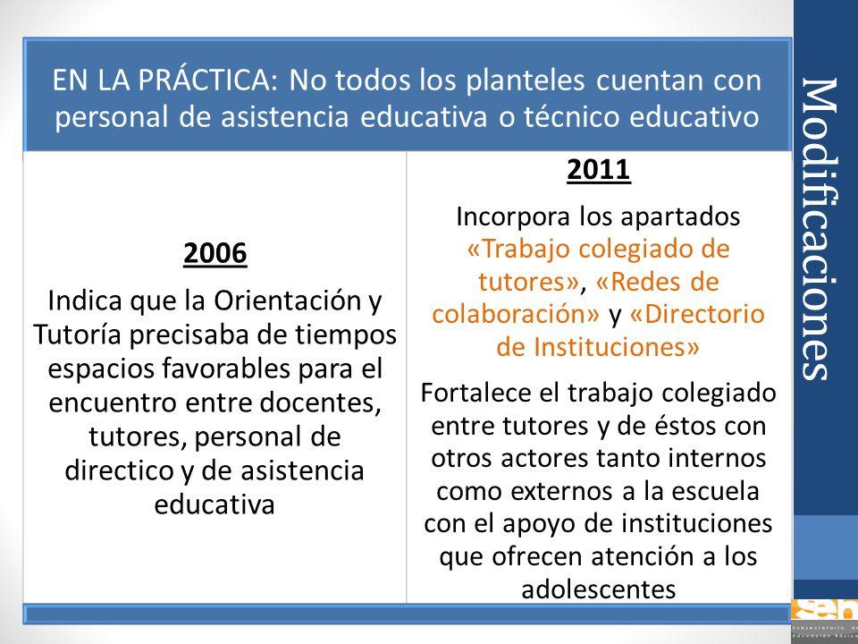 Modificaciones EN LA PRÁCTICA: No todos los planteles cuentan con personal de asistencia educativa o técnico educativo 2006 Indica que la Orientación