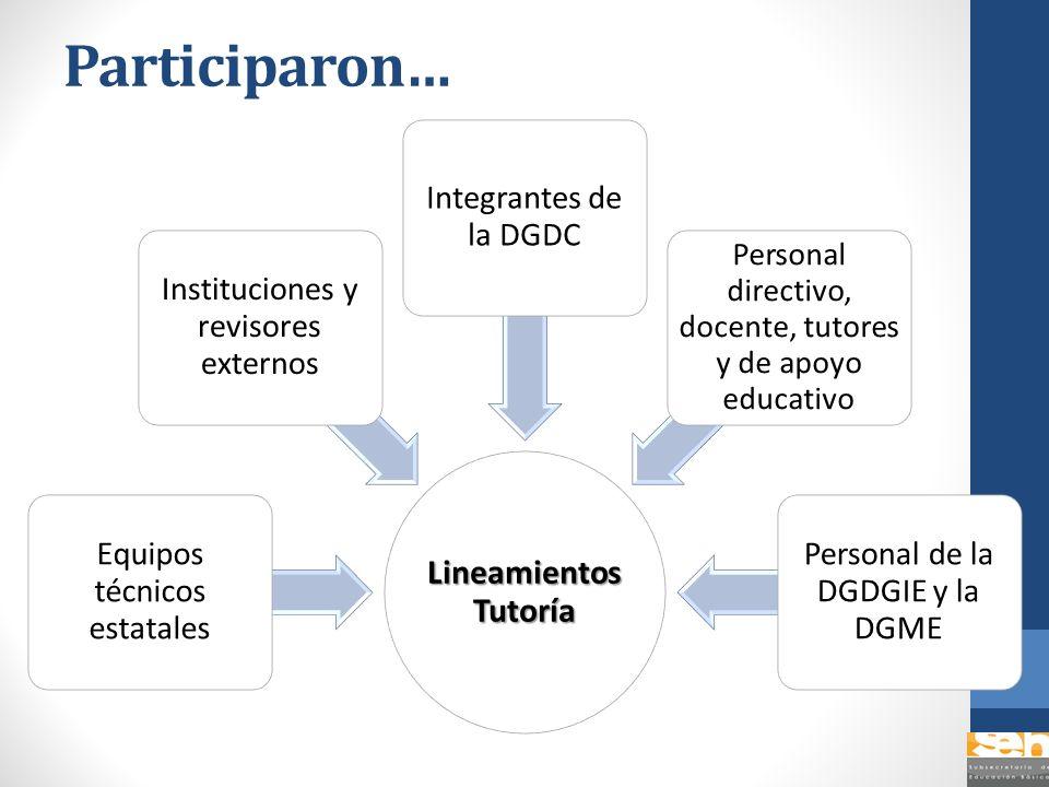 Participaron… Lineamientos Tutoría Equipos técnicos estatales Instituciones y revisores externos Integrantes de la DGDC Personal directivo, docente, t