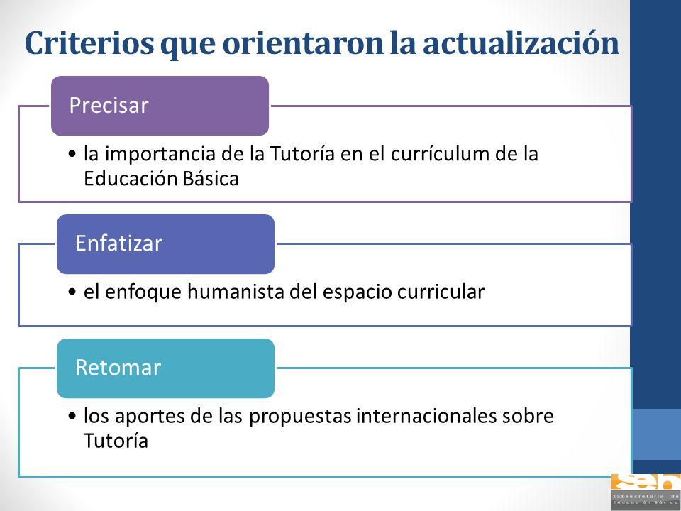 Criterios que orientaron la actualización la importancia de la Tutoría en el currículum de la Educación Básica Precisar el enfoque humanista del espac