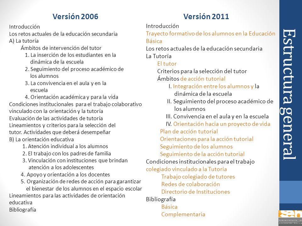 Estructura general Versión 2006 Introducción Los retos actuales de la educación secundaria A) La tutoría Ámbitos de intervención del tutor 1. La inser