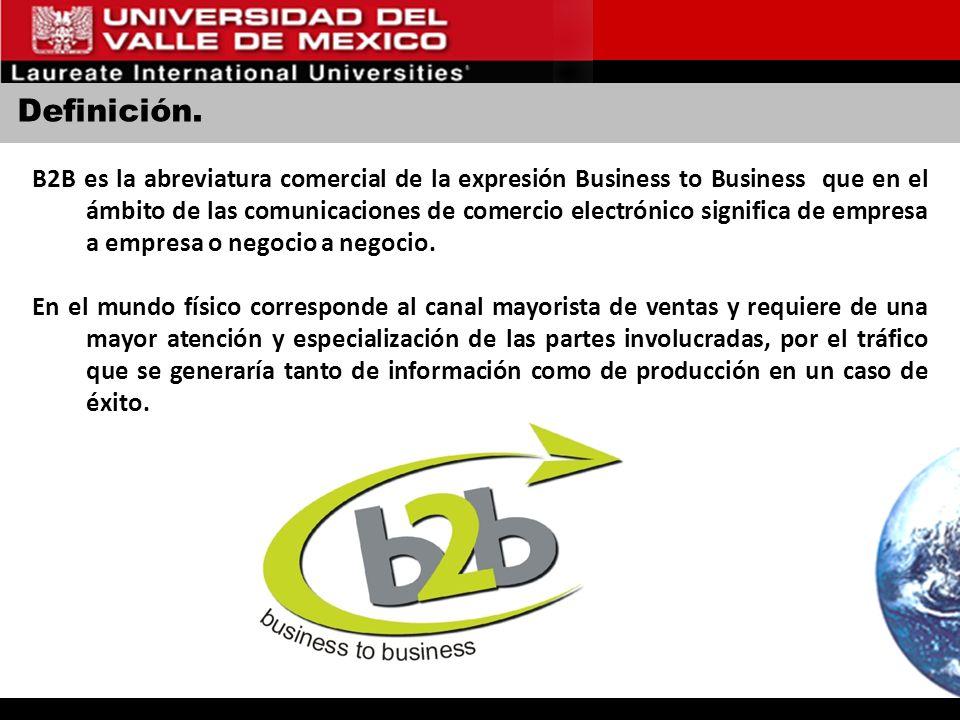 Definición. B2B es la abreviatura comercial de la expresión Business to Business que en el ámbito de las comunicaciones de comercio electrónico signif