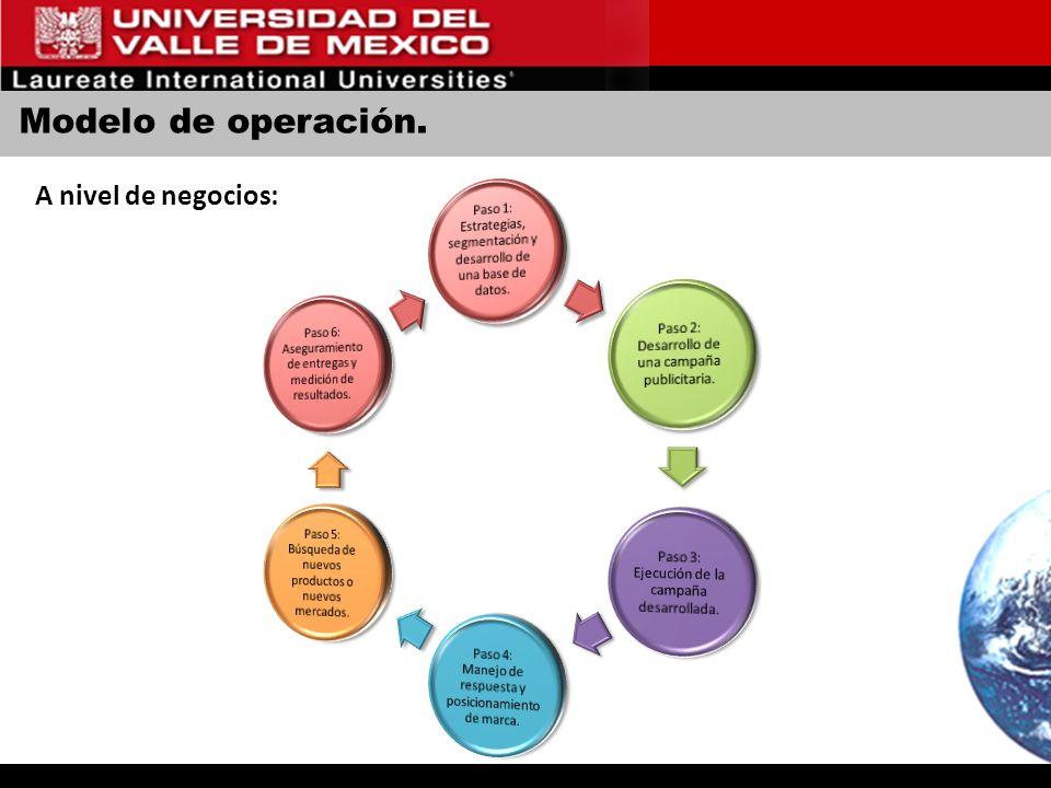 Modelo de operación. A nivel de negocios: