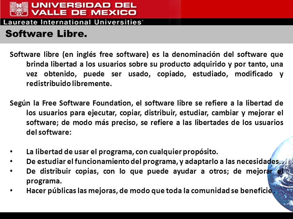 Software Libre. Software libre (en inglés free software) es la denominación del software que brinda libertad a los usuarios sobre su producto adquirid