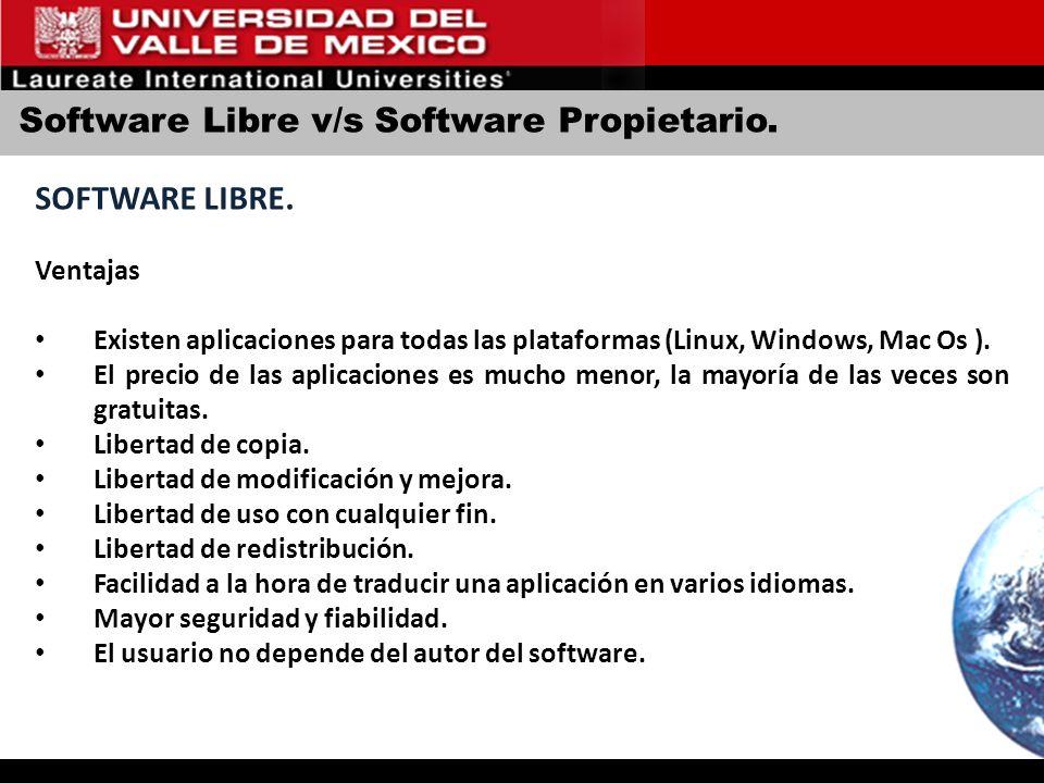 Software Libre v/s Software Propietario. SOFTWARE LIBRE. Ventajas Existen aplicaciones para todas las plataformas (Linux, Windows, Mac Os ). El precio