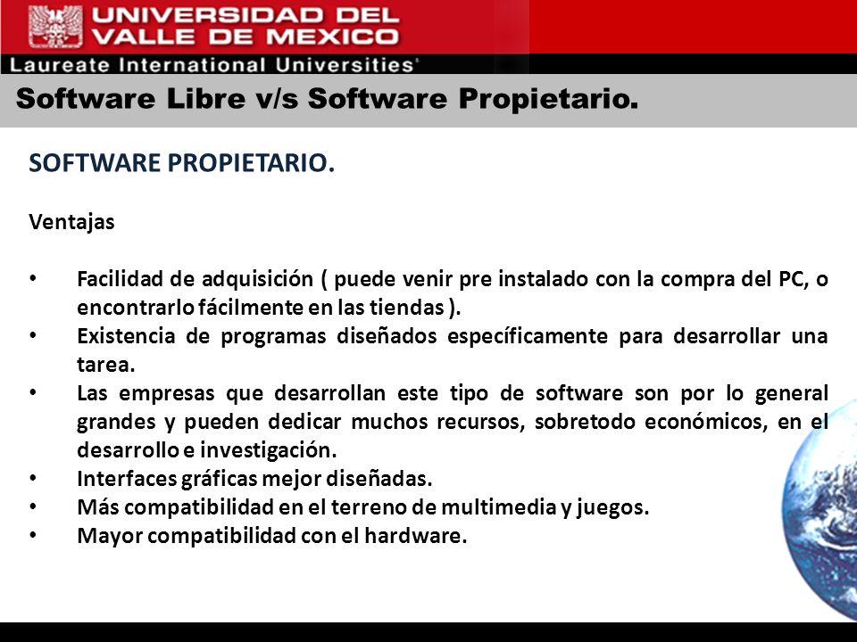 Software Libre v/s Software Propietario. SOFTWARE PROPIETARIO. Ventajas Facilidad de adquisición ( puede venir pre instalado con la compra del PC, o e