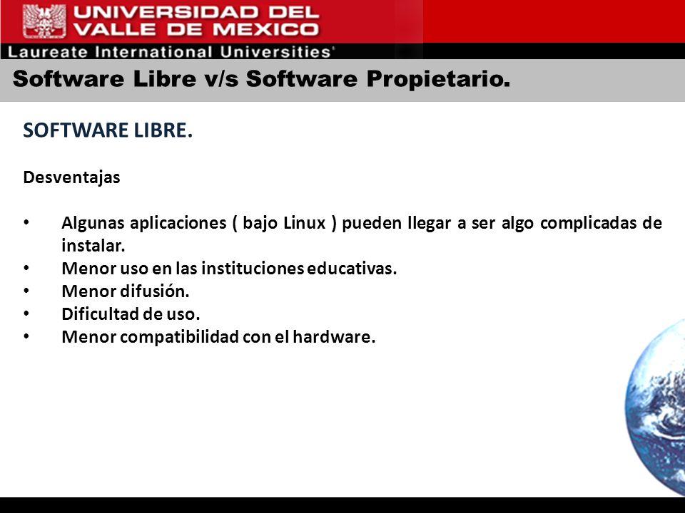 Software Libre v/s Software Propietario. SOFTWARE LIBRE. Desventajas Algunas aplicaciones ( bajo Linux ) pueden llegar a ser algo complicadas de insta