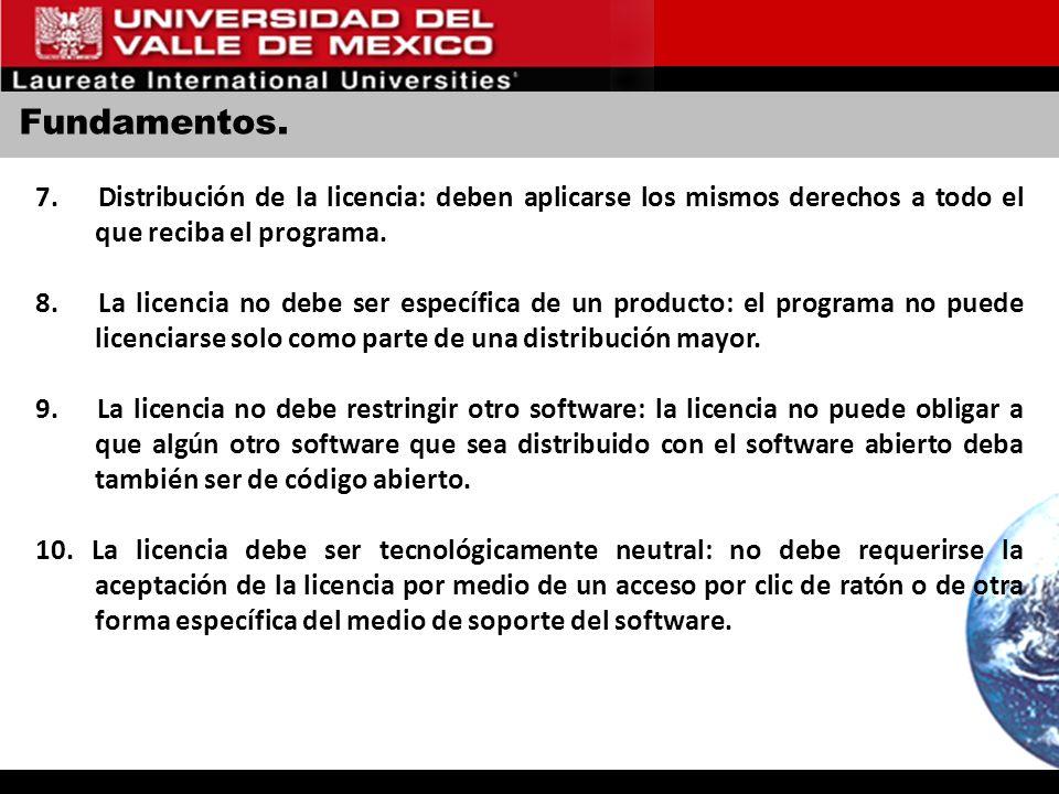 Fundamentos. 7. Distribución de la licencia: deben aplicarse los mismos derechos a todo el que reciba el programa. 8. La licencia no debe ser específi