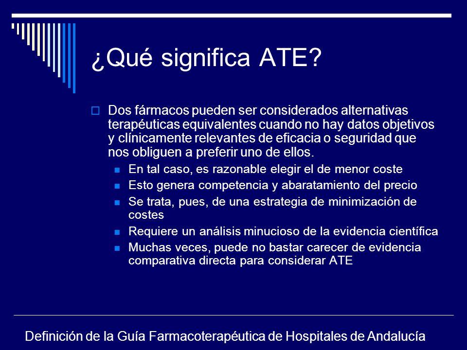 ¿Qué significa ATE? Dos fármacos pueden ser considerados alternativas terapéuticas equivalentes cuando no hay datos objetivos y clínicamente relevante