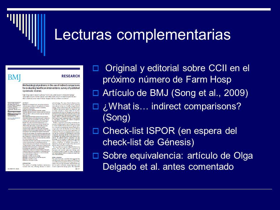 Lecturas complementarias Original y editorial sobre CCII en el próximo número de Farm Hosp Artículo de BMJ (Song et al., 2009) ¿What is… indirect comp