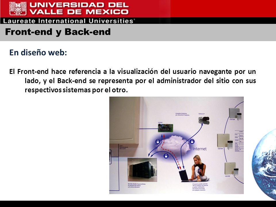 Front-end y Back-end En diseño web: El Front-end hace referencia a la visualización del usuario navegante por un lado, y el Back-end se representa por