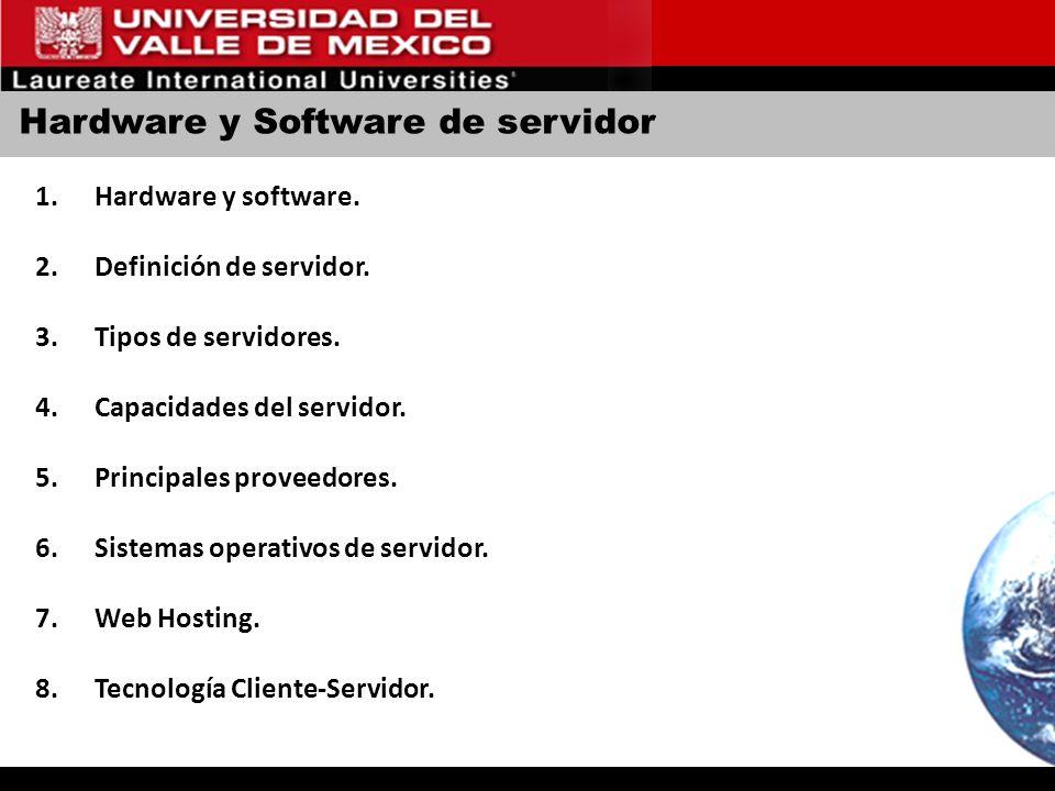 Hardware y Software de servidor 1.Hardware y software. 2.Definición de servidor. 3.Tipos de servidores. 4.Capacidades del servidor. 5.Principales prov