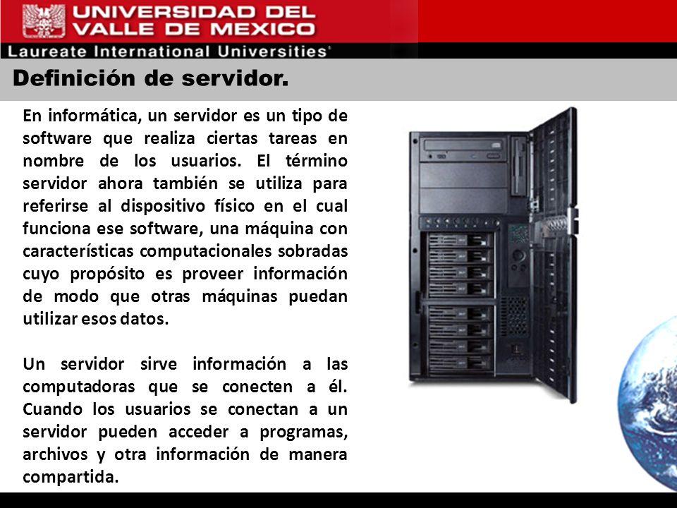 Definición de servidor. En informática, un servidor es un tipo de software que realiza ciertas tareas en nombre de los usuarios. El término servidor a