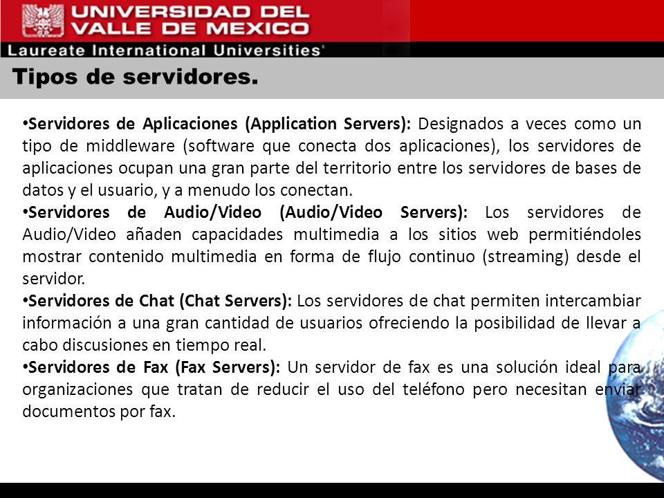 Tipos de servidores. Servidores de Aplicaciones (Application Servers): Designados a veces como un tipo de middleware (software que conecta dos aplicac