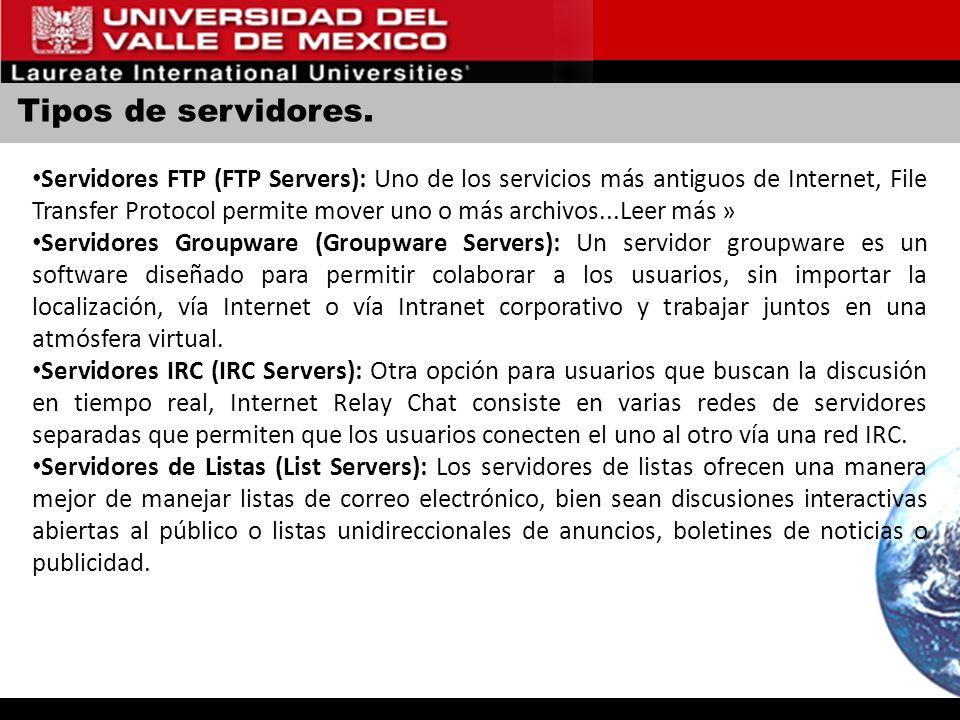 Tipos de servidores. Servidores FTP (FTP Servers): Uno de los servicios más antiguos de Internet, File Transfer Protocol permite mover uno o más archi