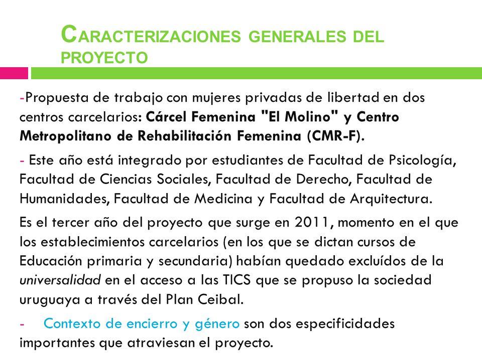 - -Propuesta de trabajo con mujeres privadas de libertad en dos centros carcelarios: Cárcel Femenina