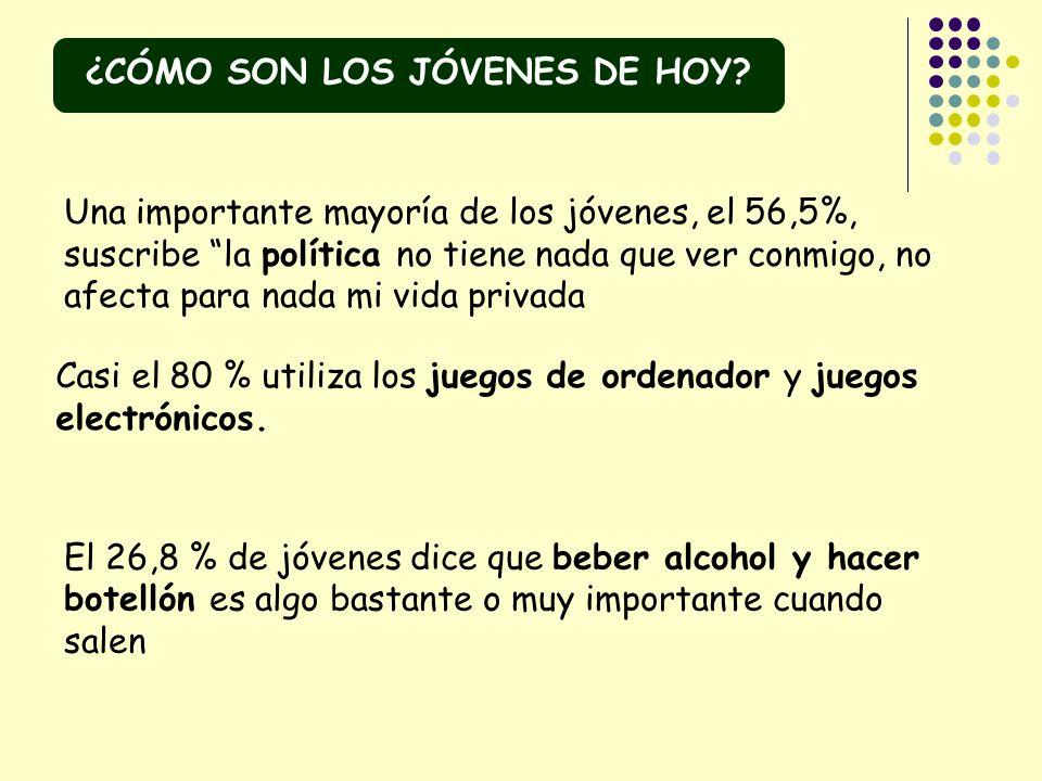 Una importante mayoría de los jóvenes, el 56,5%, suscribe la política no tiene nada que ver conmigo, no afecta para nada mi vida privada Casi el 80 %