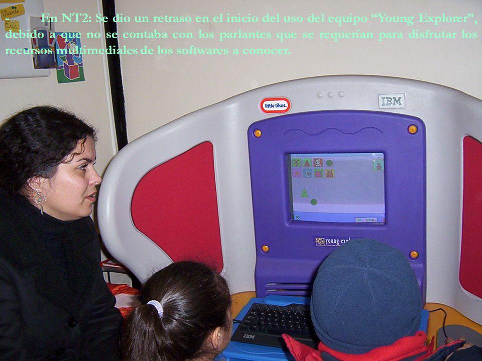 7. Principales dificultades: - Niños: - En NT1: Lograr organizarlos y convencerlos de aceptar normas y respetar sus turnos. Cómo incorporar el Program