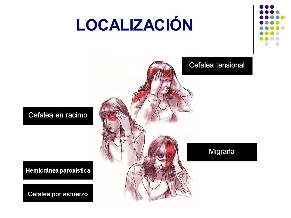 LOCALIZACIÓN Cefalea tensionalCefalea en racimoMigraña Cefalea por esfuerzo Hemicránea paroxística