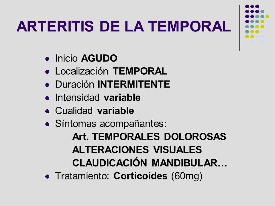 Inicio AGUDO Localización TEMPORAL Duración INTERMITENTE Intensidad variable Cualidad variable Síntomas acompañantes: Art. TEMPORALES DOLOROSAS ALTERA